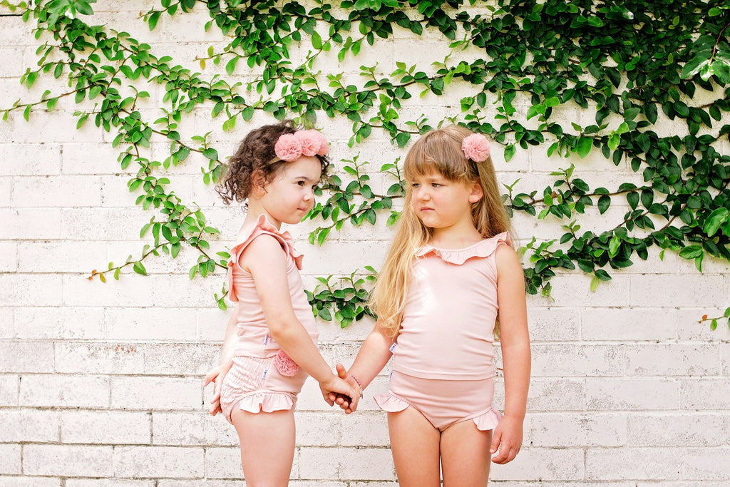 SUMMER GIFT SET:  Dusty Pink Ruffle Singlet Top, Shirred Shorts & Headband (RRP $67)