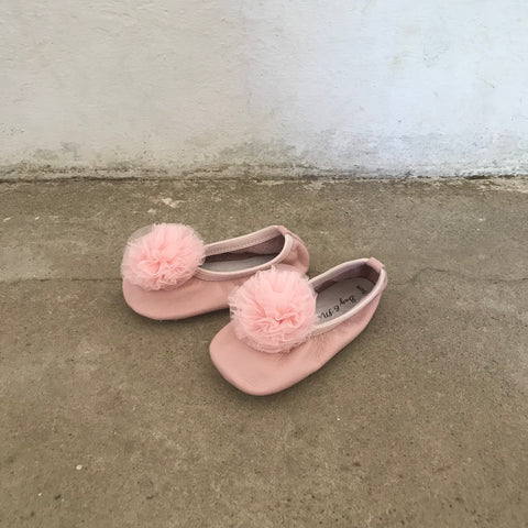 Powder Pink Pom Pom Ballet Shoes - Spring Bloom