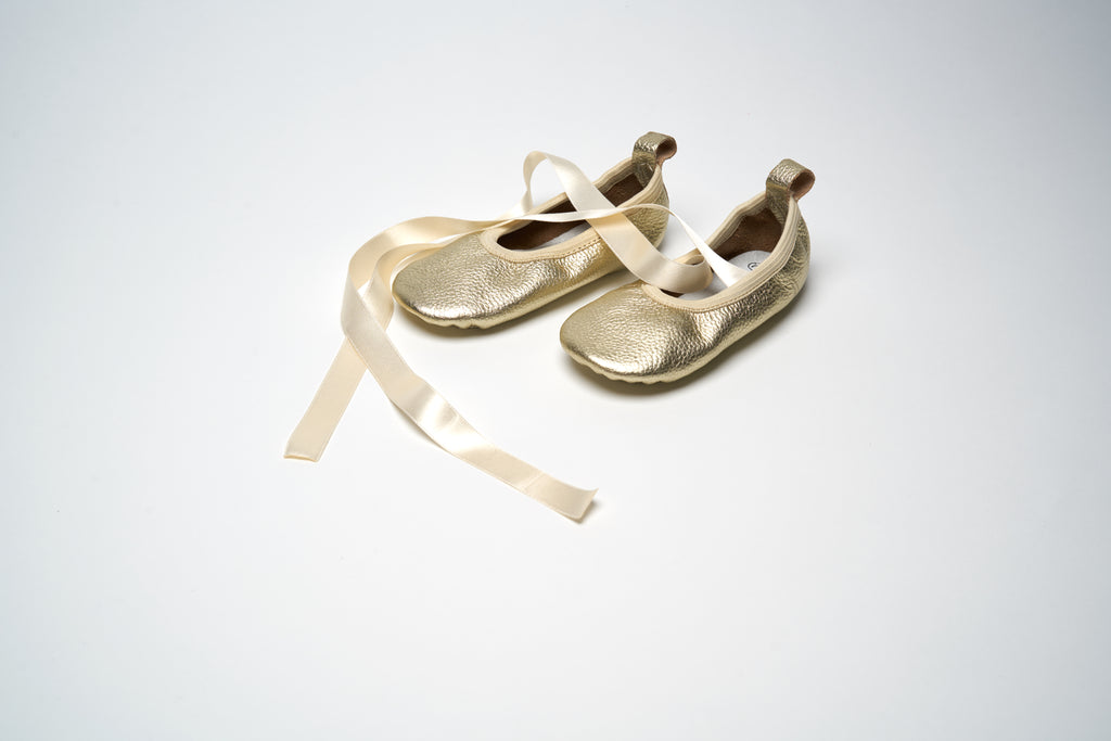 Gold Metallic Ribbon Ballet Shoes