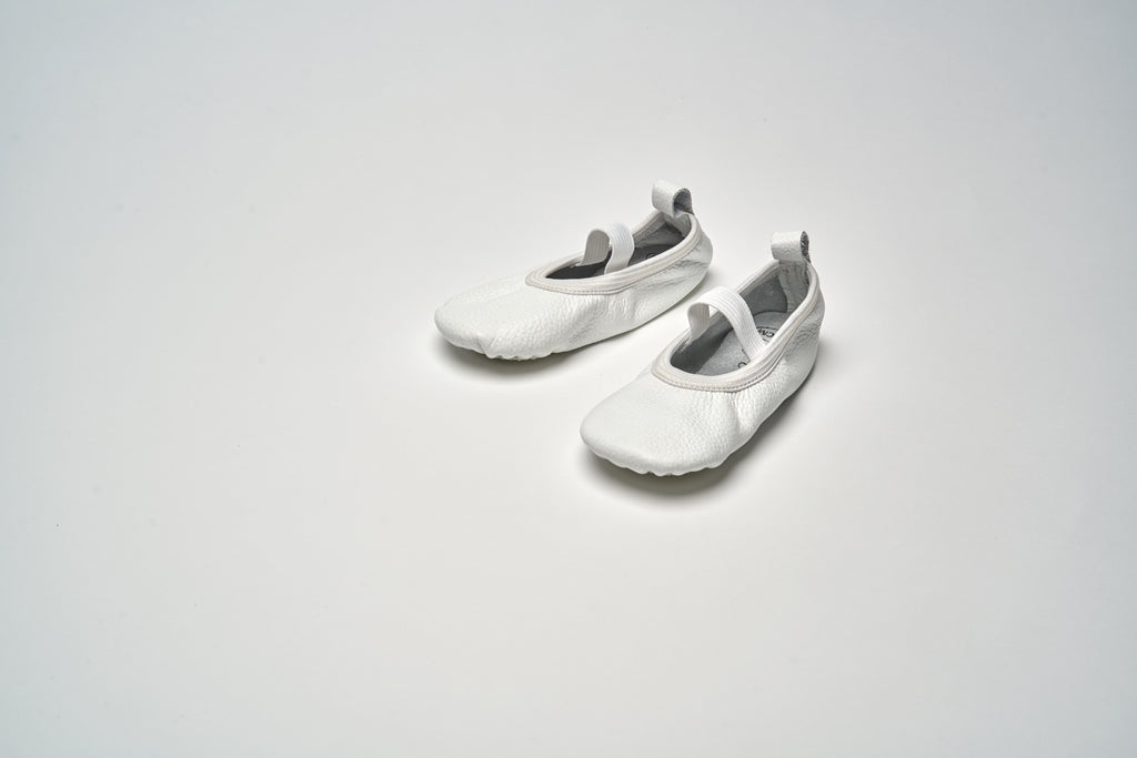 White Elastic Ballet Shoes
