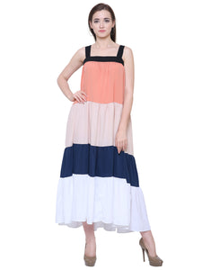Lena Colour Block Flared Maxi Dress