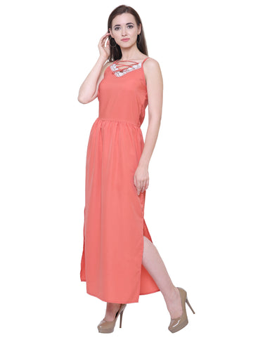 Emilia Coral Lace Detail Maxi Dress
