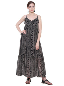 Aztec Ruffled Maxi Dress