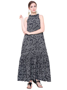 Grey Paisley Flared Maxi Dress