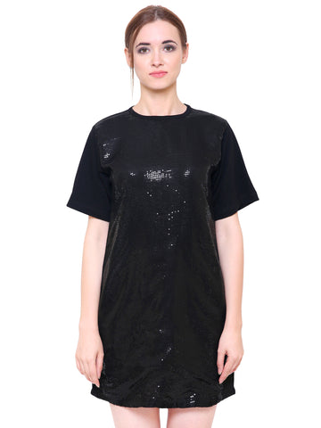 Black Sequined T-Shirt Dress
