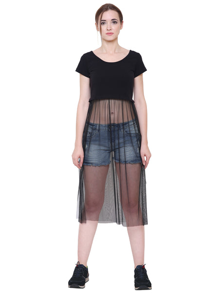 Zara Black Crop Top With Sheer Net