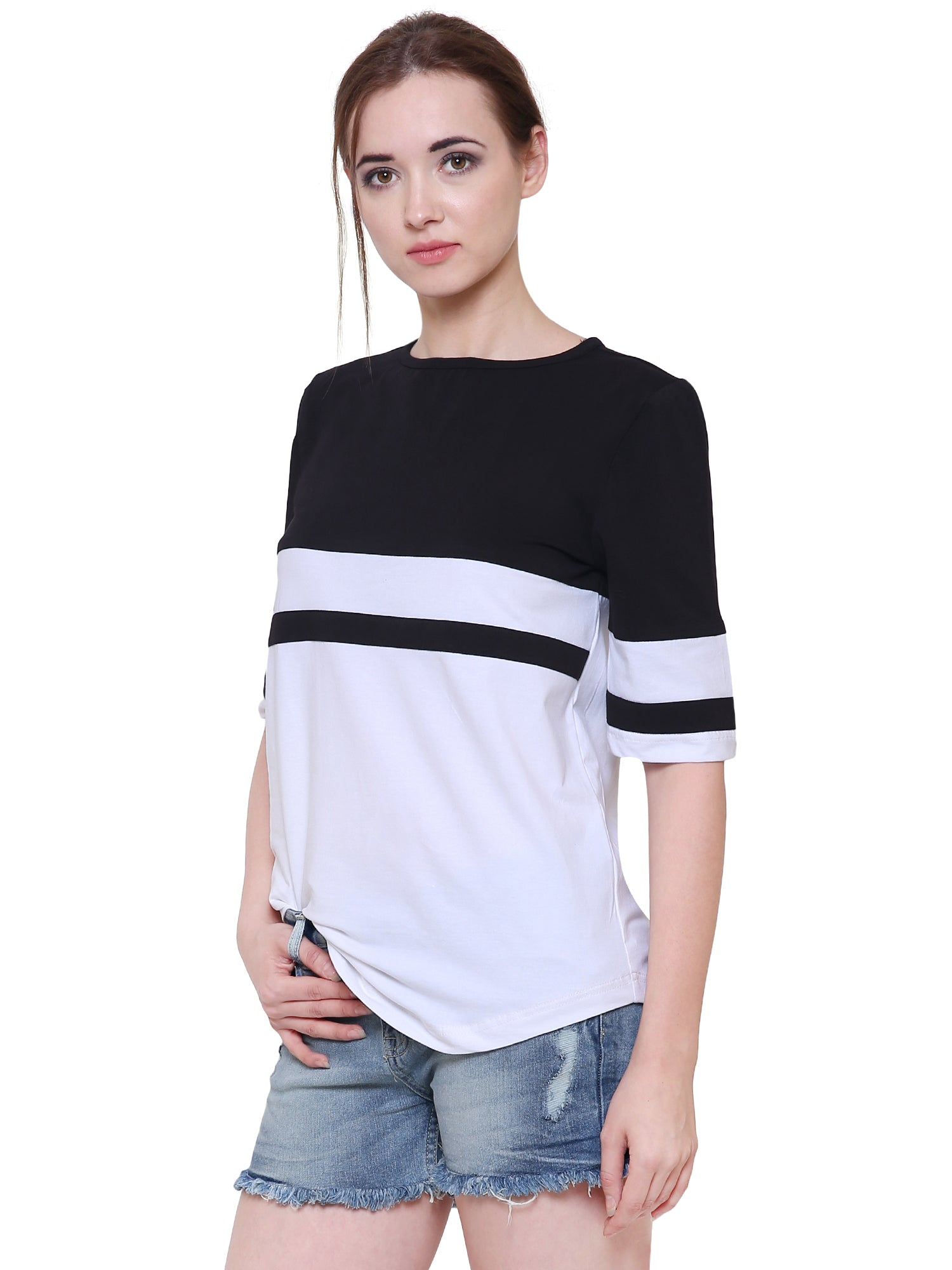 Monochrome Striped Regular Fit Top