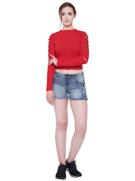 Red Slit Sleeves Crop Top