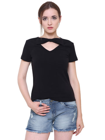 Black Bow Neck Top