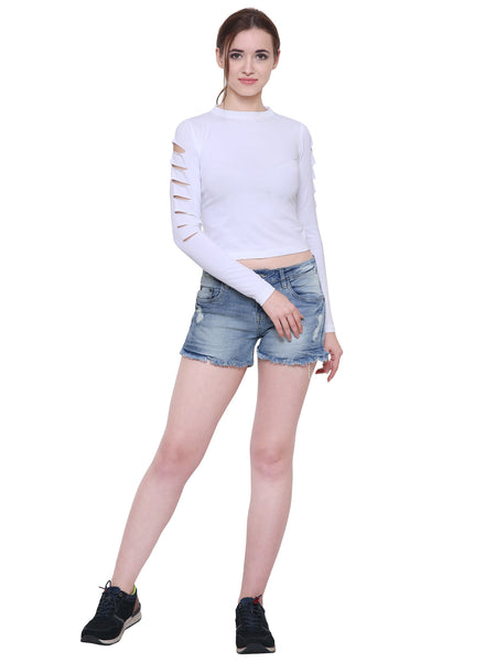 White Slit Sleeves Crop Top