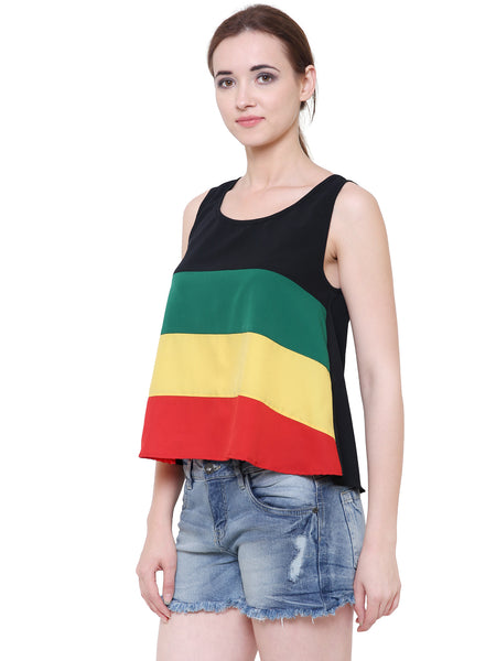 Rastafarian Flared Colour Block Top