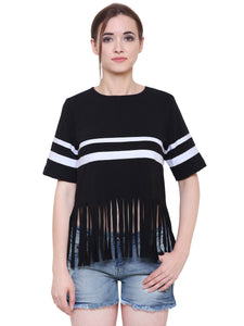 Monochrome Fringe Detail Top