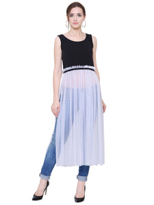 Monochrome Sheer Panelled Crop Top