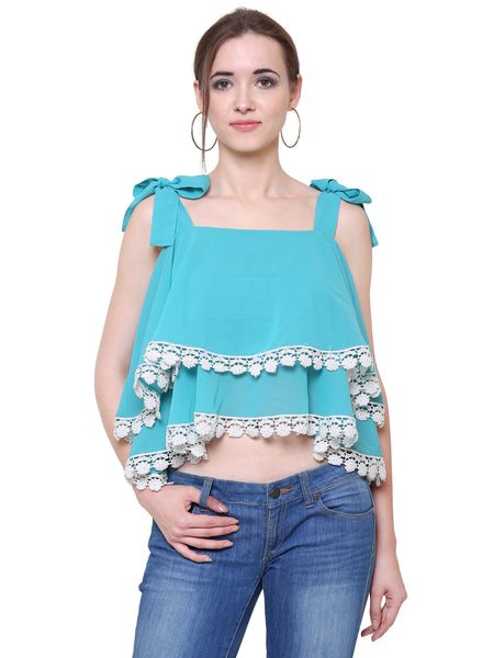 Aqua layered flared Lace Crop Top