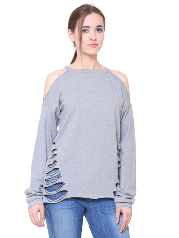 Grey Cold Shoulder Slashed Top