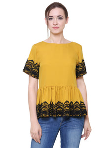 Mustard Gathered Peplum Top With Lace