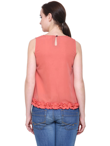 Colour Blocked Ruffle Top