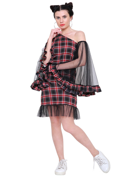 Shay Check One Shoulder Dress