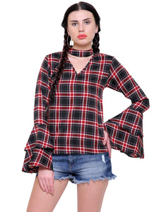 April Plaid Choker Top