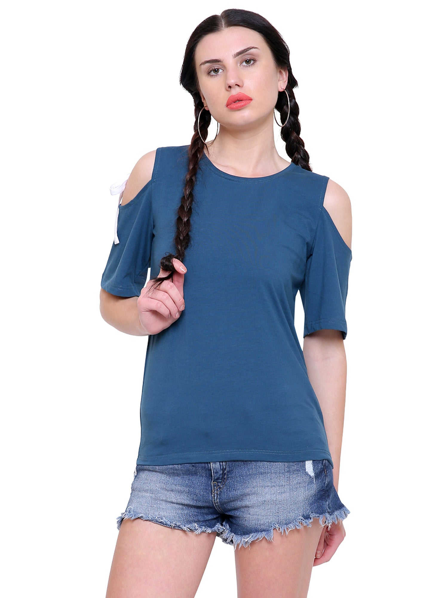 Ingrid Blue cold shoulder top