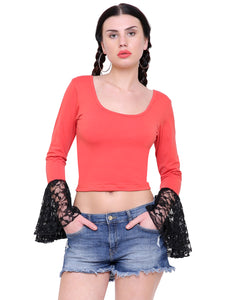 Reese Red Lace Bell Crop Top