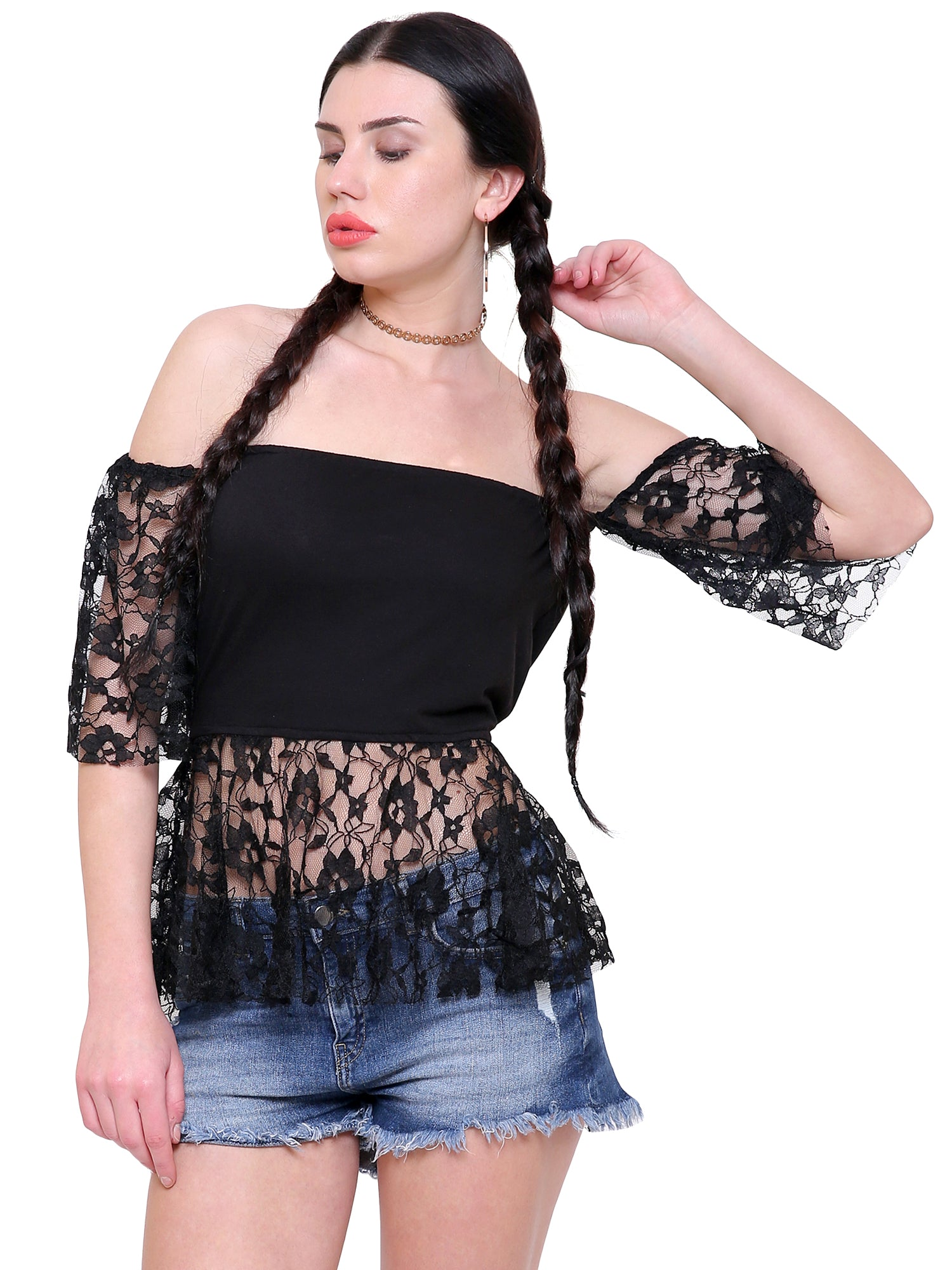 Nicky Lace Off Shoulder Top