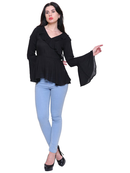 Cecily Black Ruffled peplum Top
