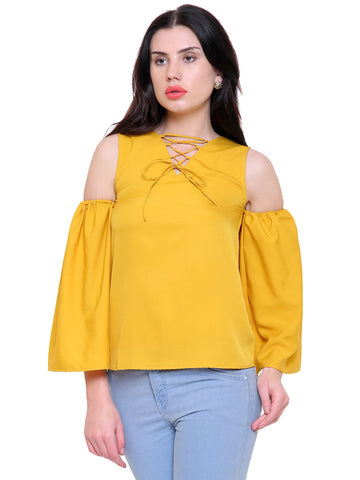 Ann Mustard Cold Shoulder Top