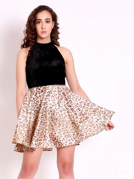 Marzeni Flared Leopard Mini Dress