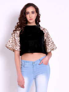 Velvet Leopard Crop Top
