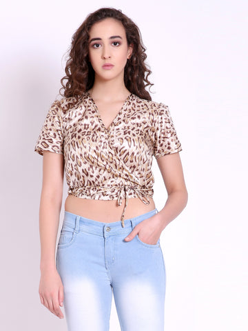 Leslie Silk Wrap Around Crop Top