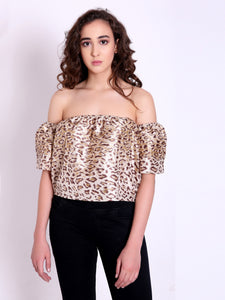 Bekah Leopard Off Shoulder Top