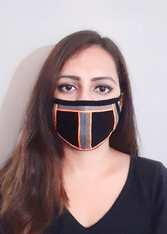 Minimalistic Twill Tape Design Unisex Social Distancing Mask (Set of 3)