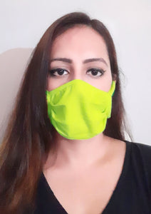 Neon Green Unisex Social Distancing Masks (Set of 3)