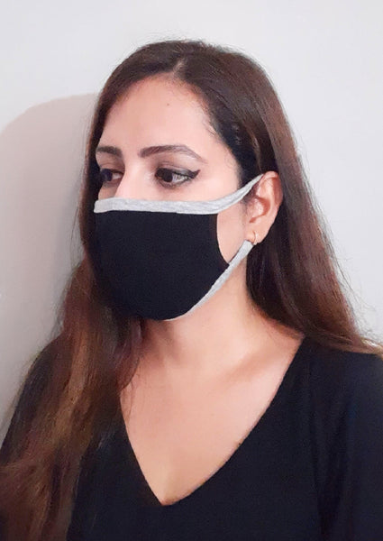 Black Contrasting Loop Unisex Social Distancing Mask (Set of 3)
