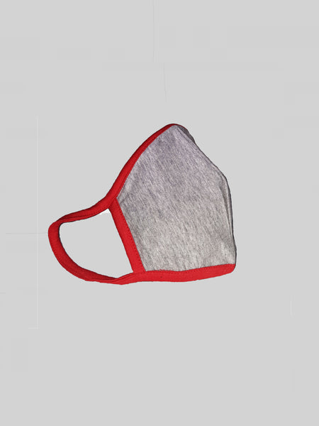 Grey Unisex Social Distancing Mask With Contrast Red Loop (Set of 3)