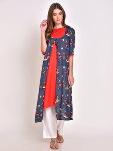 Printed Kurta with Jacket