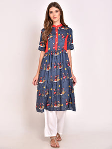 Printed Flared Kurta Blue