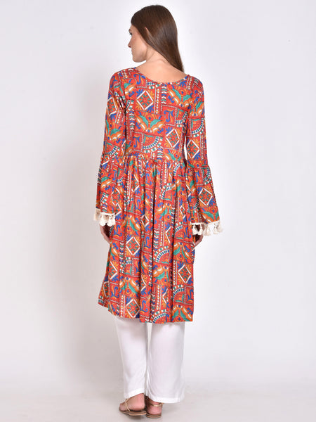 Bell Sleeves Flared Kurta Multi Color