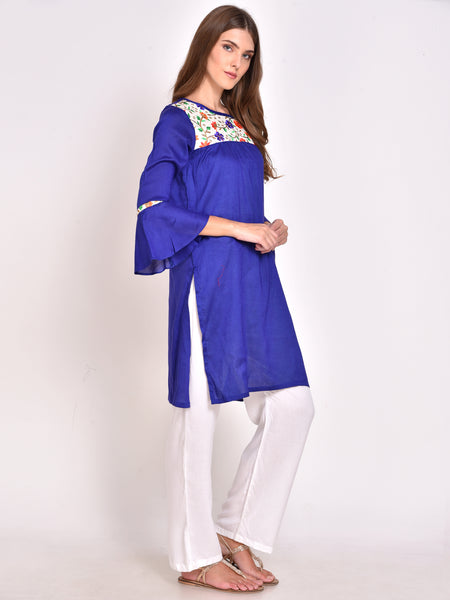 Bell Sleeves Straight Kurta Blue