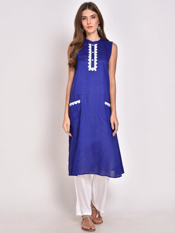 Lace Detailed Straight Kurta