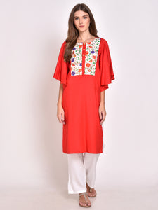 Flared Sleeves Straight Kurta