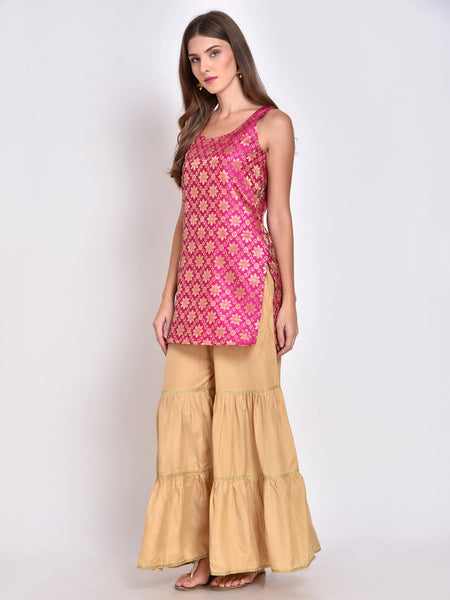 Brocade Silk Blend Straight Kurta