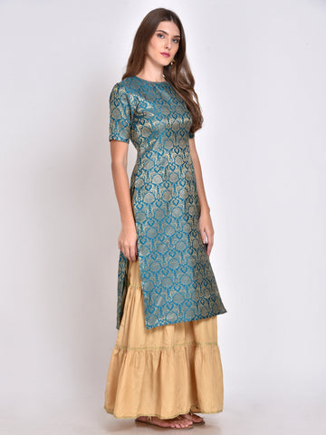 Teal Silk Blend Straight Kurta