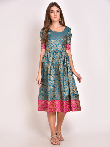 Teal Silk Brocade Dress