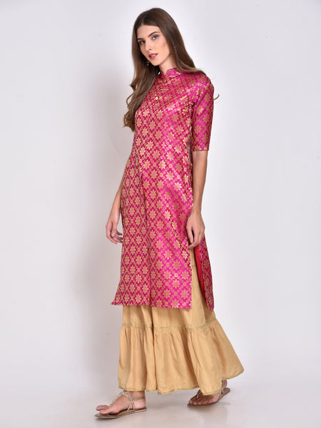 Pink Silk Straight Brocade Kurta