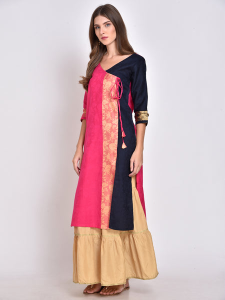 Color Block Angrakha Kurta
