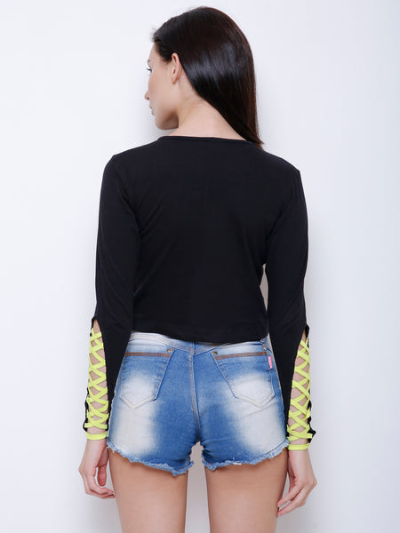 Corinne Neon Sleeve Detail Top