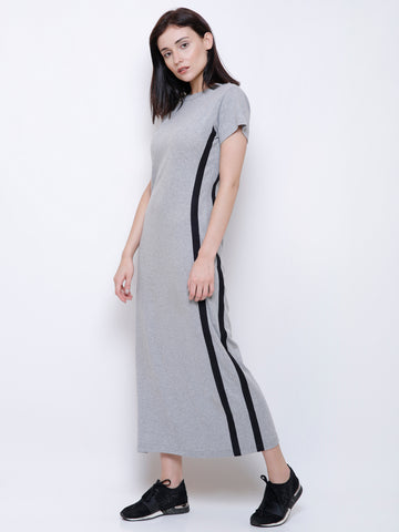 Sarah Grey Stripe Detail Maxi Dress