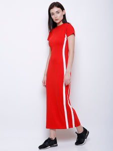 Sarah Red Stripe Detail Maxi Dress